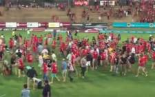 The University of the Free State has suspended classes following a brawl between Outsourcing Must Fall protesters and spectators at a varsity cup rugby game on Monday 22 Feb 2016. Picture: Screengrab via Facebook.