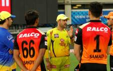 Chennai Super Kings skipper Mahendra Singh Dhoni (centre) offers words of wisdom to young IPL cricketers. Picture: @ChennaiIPL/Twitter