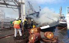 Six people went missing on 14 February 2019 after a fishing vessel catches fire at Durban Harbour. Picture: Rescue Care/Facebook