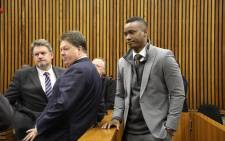 Duduzane Zuma (right) after he testified in court regarding his culpable homicide case on 16 May 2019. Picture: Thomas Holder/EWN