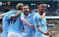 Manchester City players celebrate a victorious win against Watford during the FA Cup finals on 18 May 2019. Picture: @ManCity/Twitter