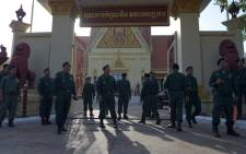 Cambodian police locked down streets around the Supreme Court on 16 November 2017 ahead of an expected ruling on the dissolution of the country's main opposition party, a move rights groups warn would strip 2018 elections of any credibility. Picture: AFP.