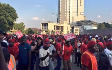 Economic Freedom Fighters supporters in Sandton. Picture: EWN.