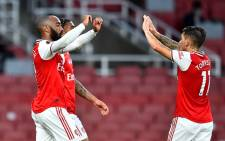 Arsenal's Alexandre Lacazette (left) celebrates his goal against Liverpool in thei English Premier League match on 15 July 2020. Picture: @Arsenal/Twitter