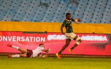 Aphelele Fassi (R) made their first starts for the national team in an otherwise experienced starting 15 in a match that saw the Springboks beat Georgia 40-9on 2 July 2021. Picture: @Springboks/Twitter.