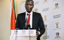 Justice and Correctional Services Minister Ronald Lamola addresses the media in Pretoria during a virtual Cabinet briefing on 6 August 2020. Picture: @GovernmentZA/Twitter.
