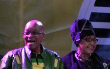 President Jacob Zuma (L) with Winnie Madikizela-Mandela (R) at the ANC celebrations on 10 May 2014 held in the Johannesburg CBD following the party's win in the 2014 national elections. Picture: Reinart Toerien/EWN