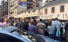 Meter taxi drivers have blocked roads in the Johannesburg CBD during a demonstration against the Gauteng transport MEC Ismail Vadi. Picture: Emily Corke/EWN.