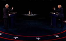 US President Donald Trump and Democratic presidential nominee Joe Biden participate in the final presidential debate at Belmont University on 22 October 2020 in Nashville, Tennessee. Picture: AFP.