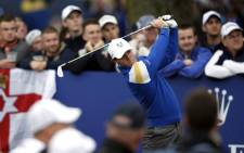 Team Europe's Rory McIlroy of Northern Ireland tees off on the 11th hole during Sunday's Singles matches on the final day of the Ryder Cup golf tournament. Picture: AFP.