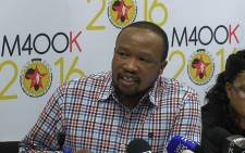 The National Union of Metalworkers of South Africa (Numsa)'s general secretary Irvin Jim at a press conference in Newtown Johannesburg on 09 November 2014 following the union's expulsion from trade union federation Cosatu. Picture: Reinart Toerien/EWN.