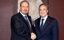 Real Madrid president Florentino Perez (R) presents new coach Rafa Benitez. Picture: Real Madrid official Facebook page.