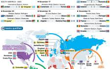 The Nov 13-20 play-offs and map showing teams already qualified for the 2014 World Cup. Picture: AFP