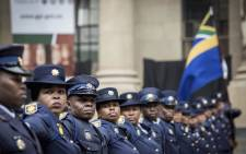South African Police Services member parade outside the Gauteng Legislature Building in Johannesburg CBD before the State of the Provincial Address on 26 February 2018.  Picture: Sethembiso Zulu/EWN