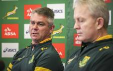 FILE: Springbok coach Heyneke Meyer (L) and team manager Ian Schwartz (R) address the media in Cape Town on 8 July 2015 after announcing the squad to face the World XV. Picture: Aletta Gardner/EWN