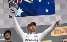 Mercedes' Lewis Hamilton celebrates a victory. Picture: @MercedesAMGF1/Twitter.