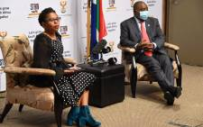 Small Businesses Minister Khumbudzo Ntshavheni and President Cyril Ramaphosa at a media briefing on 3 June 2021. Picture: GCIS