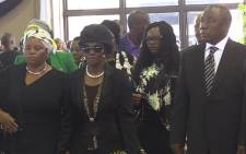 Deputy President Cyril Ramaphosa walks with Chabane family members during the late Minister Collins Chabane's memorial service in Pretoria. Picture: Vumani Mkhize/EWN.