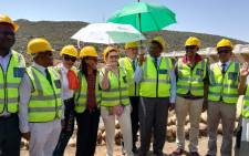 Water and Sanitation Minister Gugile Nkwinti and Western Premier Hellen Zille were joined by several officials as they turned the sod at the Clanwilliam Dam Wall Construction site. Picture: @DWS_RSA/Twitter