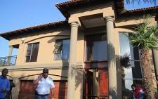 Police outside Dawie Groenewald's house