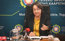 Mayor Patricia De Lille addresses the media at a briefing in Cape Town to discuss the City's water saving plans. Photo: Bertram Malgas/EWN