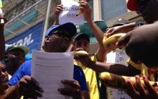 ANC Youth League members gave DA MP Zak Mbhele bananas, an apparent reference to Penny Sparrow's monkey comparison. Picture: Rahim Essop/EWN.