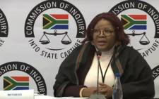 A screengrab of Vytjie Mentor during her second day of giving testimony at the state capture commission on 28 August 2018.