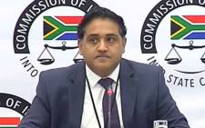 Deloitte auditor Chetan Chhagan Vaghela testifying at the state capture inquiry on 11 June 2019. Picture: @StateCaptureCom/Twitter