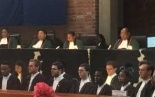 Constitutional Court judge Bess Nkabinde (second from right) delivers her final judgment on 7 December 2017. Picture: Kgomotso Modise/EWN