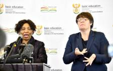 FILE: Basic Education Minister Angie Motshekga (L) addressing the media on 1 June 2020 at Sunrise View Secondary School, Rustenburg. Picture: GCIS.
