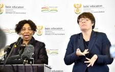 FILE: Basic Education Minister Angie Motshekga (L) addressing the media on 1 June 2020 at Sunrise View Secondary School, Rustenburg. Picture: GCIS.