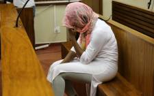 Sindisiwe Manqele reacts after being found guilty of murdering her rapper boyfriend Nkululeko 'Flabba' Habedi at his Alexandra home in March.  Picture: Christa Eybers/EWN