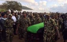 The casket of late Public Service and Administration Minister Collins Chabane arrives at a local church in the Xikundu village in Limpopo. Picture: Reinart Toerien/EWN.