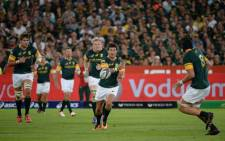 Morne Steyn kicks a penalty to give Springboks a 15-10 lead after 77 minutes. Picture: Twitter @Springboks.
