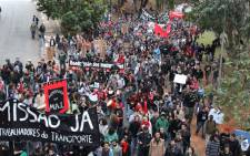 Close to 1,000 protesters took the streets of Sao Paulo in anger of Brazil's hosting of the World Cup. Picture: Christa Eybers/EWN.