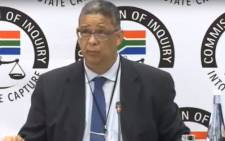 FILE: A screengrab of Robert McBride giving testimony at the state capture commission on 11 April 2019.
