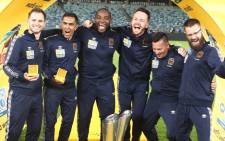 Cape Town City FC coach Benni McCarthy (third left) celebrates winning the 2018 MTN8 final with his management team. Picture: @CapeTownCityFC/Twitter