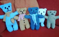 Teddy bears knitted by members of the Eyewitness News team, for the Tygerbear project. Picture: Giovanna Gerbi/EWN.