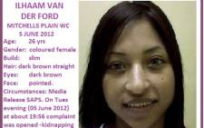 Ilhaam van der Ford was last seen on 5 June 2012, in Beacon Valley, Western Cape. Picture: The Pink Ladies