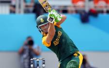 South Africa's Faf du Plessis plays a shot during the semi-final Cricket World Cup match between New Zealand and South Africa played at Eden Park in Auckland on 24 March, 2015. Picture: AFP.