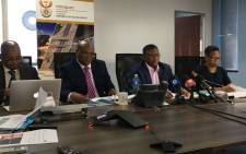 Transport Minister Fikile Mbalula (second from right) briefs the media on Prasa's war room on 4 November 2019. Picture: Kgomotso Modise/EWN