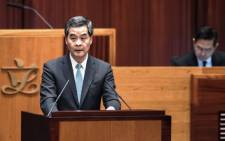 Hong Kong Chief Executive Leung Chun-ying delivers his annual policy address at the legislative council in Hong Kong on 14 January, 2015. Picture: AFP.
