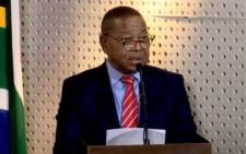 A YouTube screengrab of Higher Education, Science and Innovation Minister Dr Blade Nzimande at a press briefing in Pretoria on 23 May 2020.