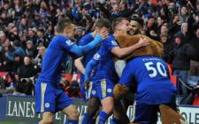 Leicester City players celebrate after beating Norwich City at the King Power Stadium on 27 February 2016. Picture: @LCFC.