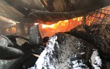 A fire inside the Millbo Paper factory in Kya Sands on 5 September 2018. Picture: Christa Eybers/EWN