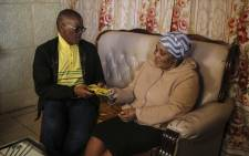 African National Congress (ANC) secretary-general Ace Magashule visits the home of a Khayelitsha resident during his door-to-door campaigning in the area. Picture: Cindy Archillies/EWN