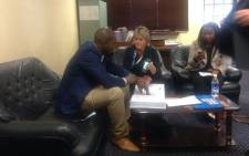 Mmusi Maimane opens a case of fraud and corruption against former Prasa CEO Lucky Montana at the Cape Town police station. Picture: Rahima Essop/EWN.