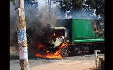 A Pikitup truck was torched in Diepkloof, Soweto, and another was stoned and damaged in the same area on 24 August 2018. Picture: @CleanerJoburg/Twitter