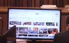 The last web page viewed on Oscar Pistorius's iPad before he shot and killed Reeva Steenkamp is shown in the High Court in Pretoria, 19 March 2014.