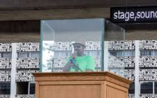 Ethiopia Prime Minister Abiy Ahmed delivers a speech behind a glass during a rally on Meskel Square in Addis Ababa on 23 June 2018. Picture: AFP